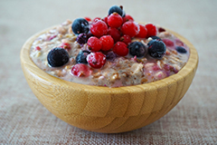 Oatmeal, particularly when supplemented with fruit, can be an ideal breakfast.