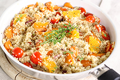 Quinoa is a nutrition powerhouse, and just one of those benefits for vegetarians and vegans is the high protein content it offers.