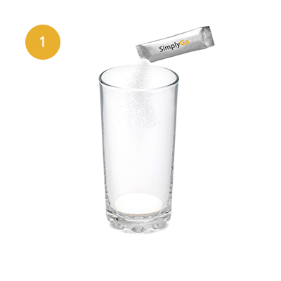 Tip one sachet into a glass.